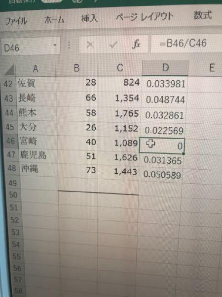 エクセルについて 普通の計算をしているのに、d46のセルだけ計算結果が0になります。なんでですか?
