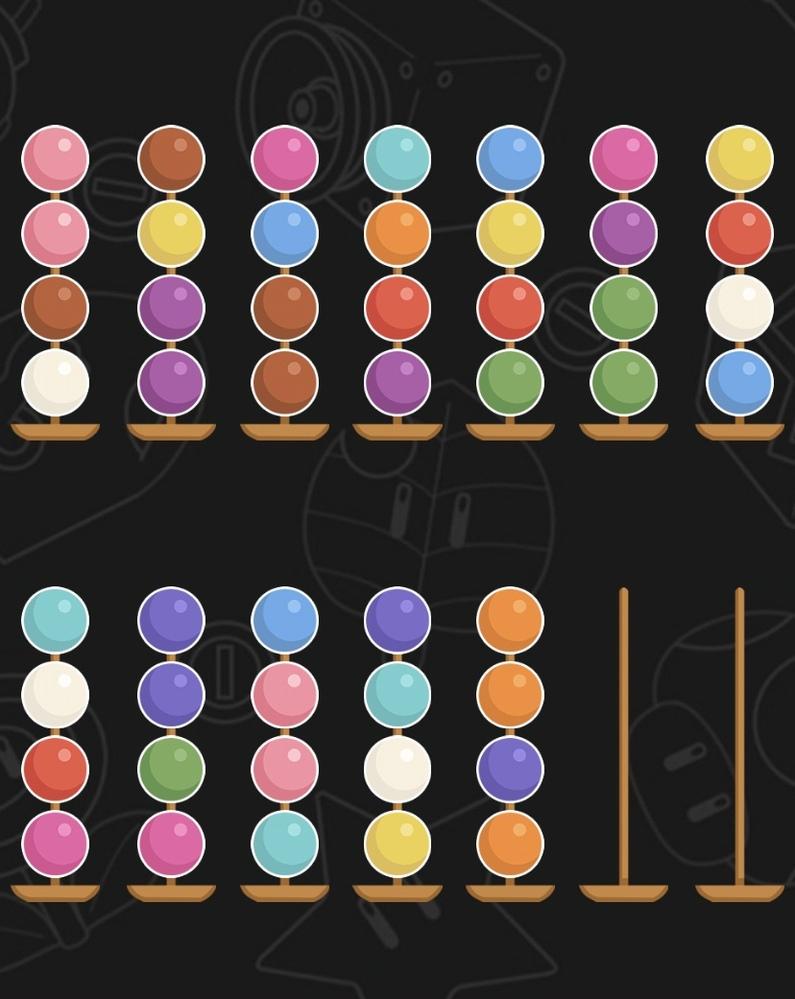 スマホアプリのボールソート2020というパズルゲームのレベル209解けた方いらっしゃいますか? 今までは難しくても何度かやり直してたらできたのに、これだけはどうしても詰まってしまいます。右下のオ...