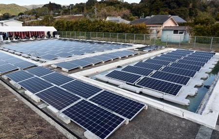 以下の共同通信の記事を読んで、下の質問にお答え下さい。 『廃校プールで太陽光発電、鹿児島 機器冷却に活用、15カ所で計画 鹿児島県南さつま市のシステム開発会社「エルム」が、同市にある廃校のプー...