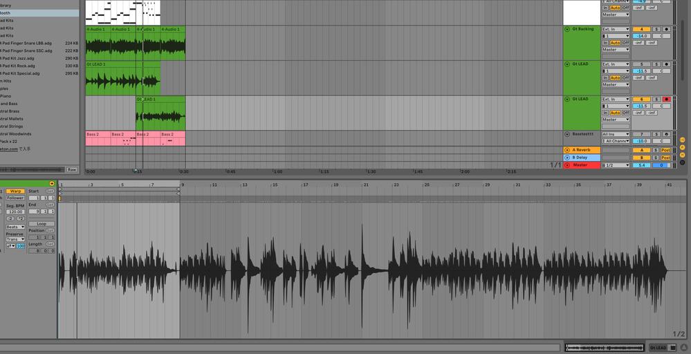 DTM超初心者です。 Ableton Live 10で、ギターを録音したんですが、そのあとドラムのMIDIをいじってから再生したら、ギターが実際演奏したものの×0.25倍くらいの速度で再生され、...
