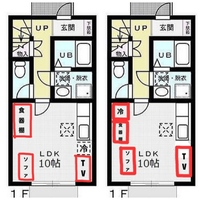 狭いリビングダイニングキッチンの間取りについて。 最近メゾネットタイプの賃貸に引っ越しました。1階のLDKが図のような間取りなのですが、元々の間取り図にあるようにキッチンの横に冷蔵庫を置くと、TVとソファのスペースが窮屈に感じます。 TV台が120cm、スペースが150cmほどあるので全然置けなくはないのですが、キッチンのスペースの割合から見ても、広くは感じません。  それと、今シンク...