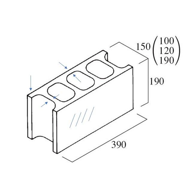 コンクリートブロックの各部分の名称について 建築用のコンクリートブロックを使って設計をするところなのですが、穴や図のやじるし、斜線の部分などそれぞれ名称とかあるのでしょうか。