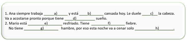 このスペイン語の問題の解答を教えていただきたいです。よろしくお願いいたします。 以下の下線部 a,b,c,d,gにmuy / mucho / muchaを、下線部 e,f,hにun poco /...