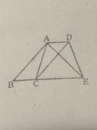 数学の証明問題です。平行四辺形ABCDの辺BCの延長線上にAB=AEとなる点Eをとる。このとき、△ABC≡△EADであることを証明しなさい。という問題です(--;)