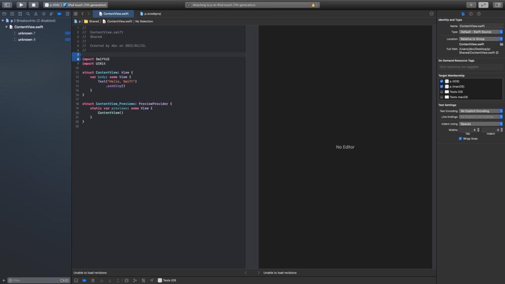 xcode 右側No editorにモバイル表示(Emulator)をさせたい場合は どうすればいいのでしょうか? 画像の「No Editor」の箇所に表示させたいです。