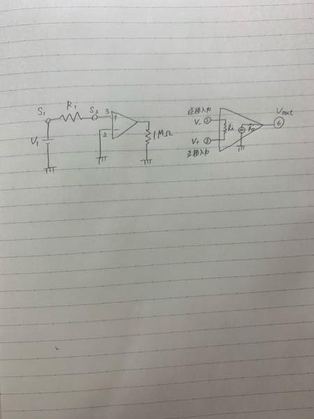 電気回路の問題についてです。 写真の左のような図の回路の時のオペアンプの入力インピーダンスRiの大きさの求め方を教えてください。 R1=1MΩ、S1の電位は300mV、S2の電位は200mVです。