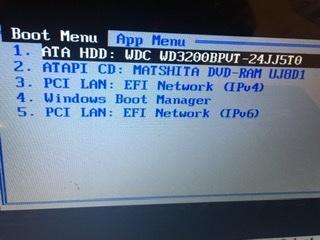 Boot Menuになってしまった際の対処法を教えて下さい。 昨夜PCを立ち上げて放置していたら突然画面がBoot Menuというのになりました。 1〜5,ESCどれを選択しても同じ画面に戻り...