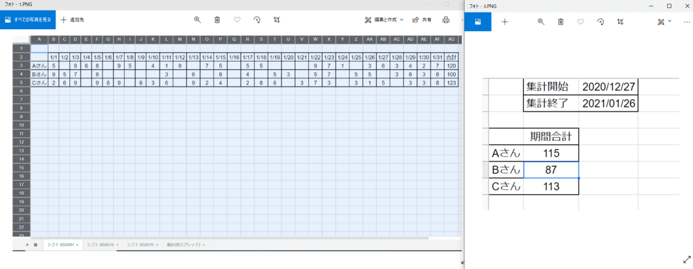Aスプレッドのシフトについて、指定した期間の出勤時間をBスプレッドに 集計したいです。 別のスプレッドからの集計になるのでindex/matchが使えない(方法がわからない) 状況で、関数でのス...