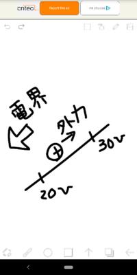 電位差と仕事の考え方について 外力、電気力がする仕事の考え方があやふやで分かりません 画像の考え方は合っていますか? 30[V]から20[V]に+1Cの点電荷を移動させるときの電界がした仕事と外力です
