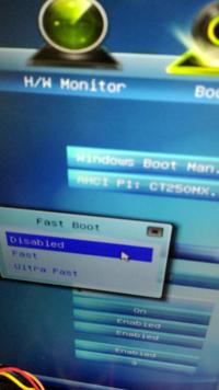 BIOSの設定でfast boot は何を選択したらいいのでしょう?