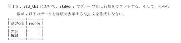 MySQLで問題の写真を教えてください。