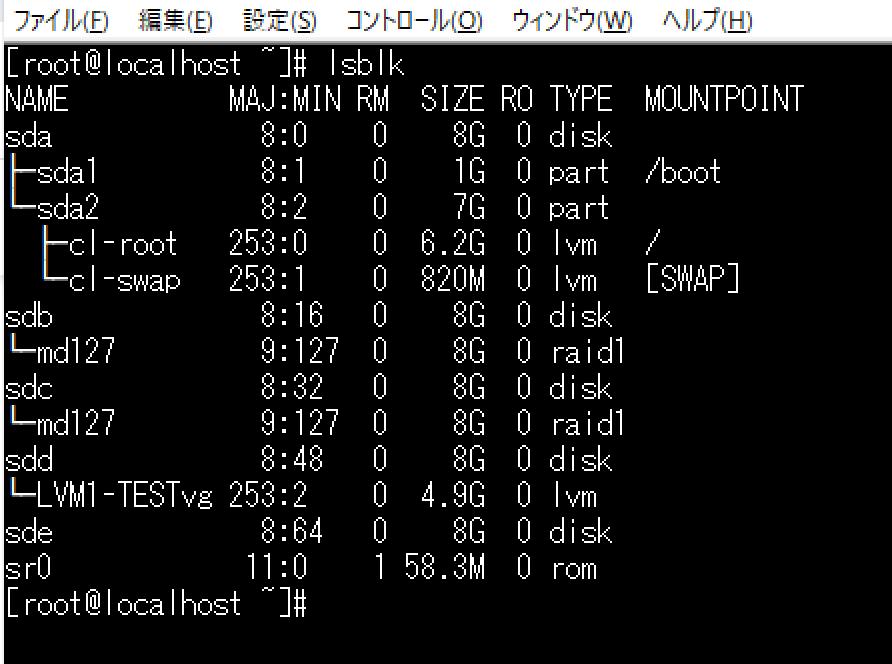 centos8でLVMを構築中です 添付画像の「/dev/sdd」と「/dev/sde」でボリュームグループを作成し、 「TESTvg」という論理ボリュームを作成したつもりなのですが、 lsbl...