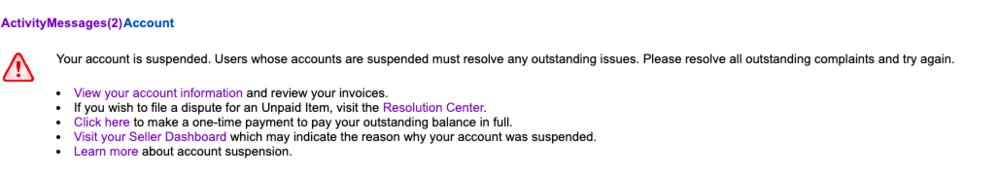 至急お助け頂きたいです! eBay アカウントで初めて出品(ストール)をしたのち、すぐにアカウントが凍結しました。おそらく、出品手数料がうまく支払われなかったことが原因かと思うのですが、添付のメ...