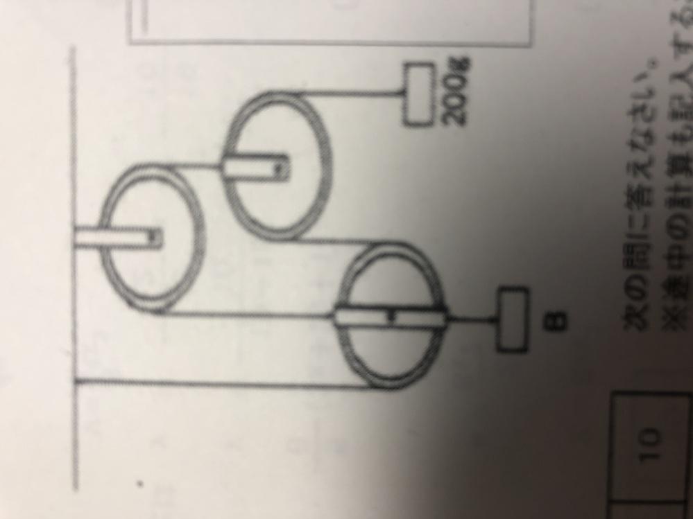 滑車と重りがつり合った状態の時、Bは何グラムですか? 解答解説見たのですが、理解できませんでした。 答えは800gです。 解説お願いします。