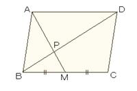 数学です。よろしくお願いします。 次の図で,Mは平行四辺形ABCDの辺BCの中点である。対角線BDとAMとの交点をPとする。対角線BDの長さが 12㎝ であるとき,DPおよびBPの長さを求め,正しい答え...