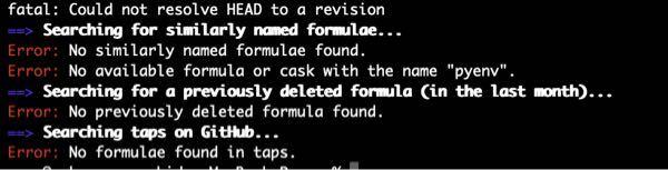 プログラミング初心者です。 brew install pyenv をしたらエラーが出ました。 解決方法を教えてください。 環境はm1 MacBook Proです。