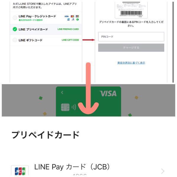 LINEのプリペイドカードを買い、LINEプリペイドカードを選んでチャージしたのですが、このお金は、画像の矢印の先のカードに入っているのでしょうか?また、残額の確認方法などあれば教えて頂きたいです。