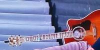 アコースティックギターについて質問です。 ある動画で添付のギターを見たのですが動画ではギターの全体やヘッドなどかよく見えなくメーカーと機種(型番)が判りません。知っている方がいらっしゃいましたら何卒、...