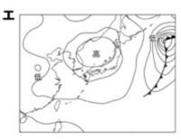 教えてください。  天気図エの中心付近に高気圧が見られるが、このような高気圧を特に何と言うか。 また、この時期の日本の天気の特徴は、周囲的に天気が変わることである。その理由を「高気圧」と「低気圧」の語句を使って簡潔に説明せよ。