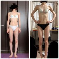 右が1番痩せてたときで、左が今です。今でも太ってるように見えるけど、健康的な体重まであと3kg増やさなければなりません。 あと3kgも増やしたら太って見えますよね、、?毎日筋トレウォーキングストレッチしっかりやってるので、3kg増えても大丈夫でしょうか、、?