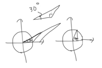 なぜ単位円で三角比を考えることが三角比の定義の拡張といえるんですか? 単位円で考えるときも結局、下右図のように単位円上に直角三角形を作って三角比を出しているように思えるのですが、直角三角形以外はどう考えるんですか?というか、鈍角三角形や鋭角三角形は単位円にどのように図示しますか?書いて見たんですけど、下左図はあってますか? 直角三角形以外を単位円上に図示するということは、補助線を引いて直角...