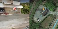 グーグルマップで左にストリートビュー。右に航空写真を表示すると、ところどころに水玉が出て来るのは何でしょうか? この画像のように建物にポツポツ出たり、山の中にポツンと出たりします。