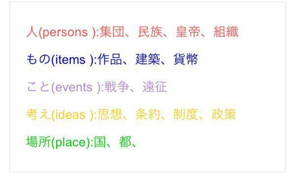 世界史のマーカーの色について質問です。私はあまり多くの色を使いたくなく、できれば3色ぐらいで留めたいのですが、どのように色分けするのが良いでしょうか?今まではピンク→重要用語、緑→まあまあ重要用語、黄色→ 因果関係・重要な記述、という風にしていました。しかし、調べてみると人名や国名・王朝も色分けするのが良いと書いてありました。5色使うとわかりにくくなってしまうような気もするのですが、どちらの...