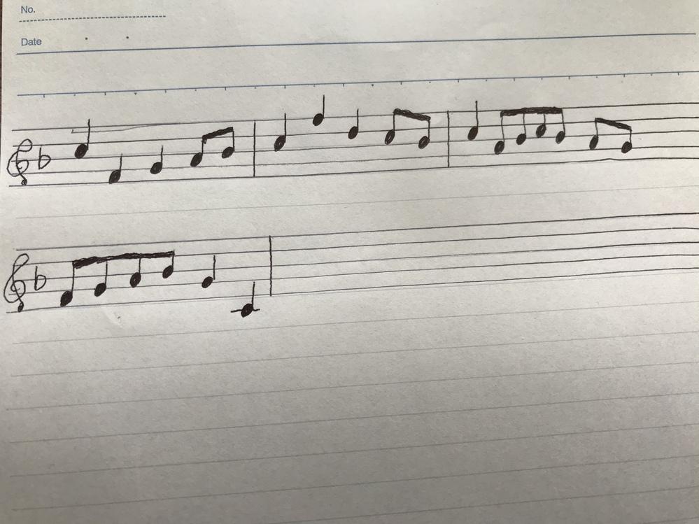 添付した写真のメロディの吹奏楽曲を教えてください。 このワンフレーズしかわからず、尚且つうろ覚えで書いたものなので実際の楽譜とは異なるかも知れませんが、よろしくお願いします。