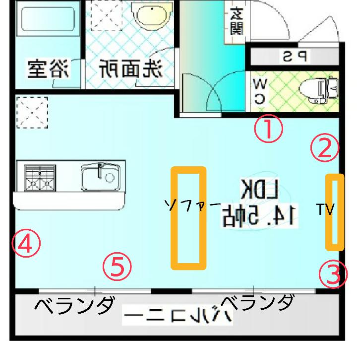 すいません、1から5までの位置に電子ピアノ、DJのターンテーブル、勉強机を起きたいのですが、みなさんならそれぞれどこに配置しますか?おしえてください ちなみにソファーが3人ゆったり掛けのちょっと大きめのソファーで幅をとってます •電子ピアノ •ターンテーブル •勉強机