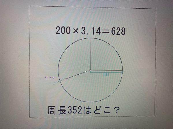 JWCADで半径100(200×3.14=628)の円に対しての 周長352はどこ?と言う問いについての 導き方がわかりせん。図の???の様に示す方法はありますか?教えてください!