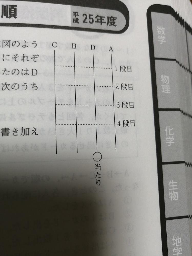 この問題が分かりません。公務員試験。A〜Dの4人があみたくじを行った。 4人のスタート位置は図のようでであり、Aは1段目、Bは2段目、Cは3段目、Dは4段目にそれぞた横に1か所だけ線を書き加えた。その結果、当たりとなったのはDであった。ア、イのことがわかっているとき、正しいものは次のうちどれか。 アDは、横の線を書き加えなくても当たりだった。 イCは、Aが横に線を書き加えた位置の真下に横の線...
