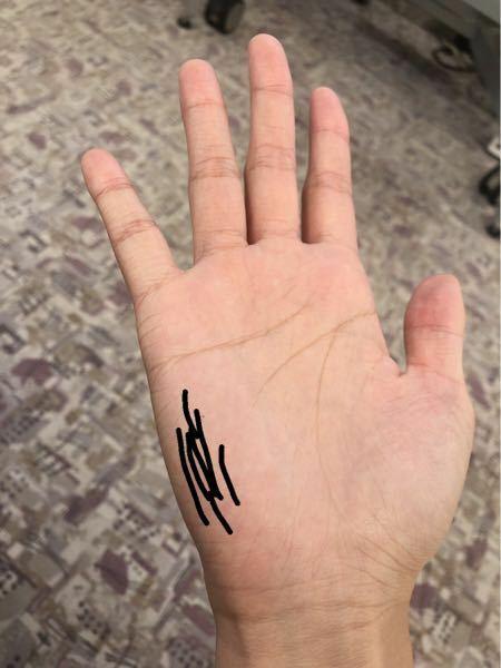 手について質問です。写真に書いてある線らへんに細かく縦に手相?があるんですが、これは普通ですか?