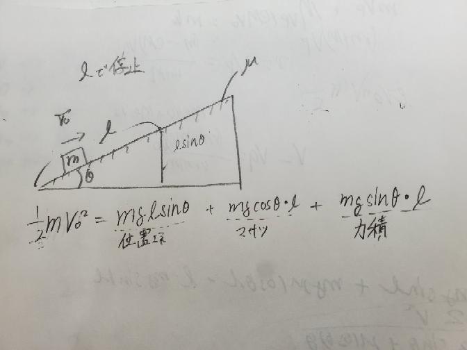 物理の基礎的なところで確認お願いします。 mの物体が初速度Vo でθの坂を動摩擦μで登る時、距離l で 止まった時のエネルギー保存則の質問です。 誤って写真のような式を立ててしまったのですが、位置エネルギーのsinと力積のsinの式は同じ意味だから書かないという認識でよろしいでしょうか。 上がることによって失われたエネルギーは(摩擦以外)位置エネルギーに変わったというのであっていますよね。