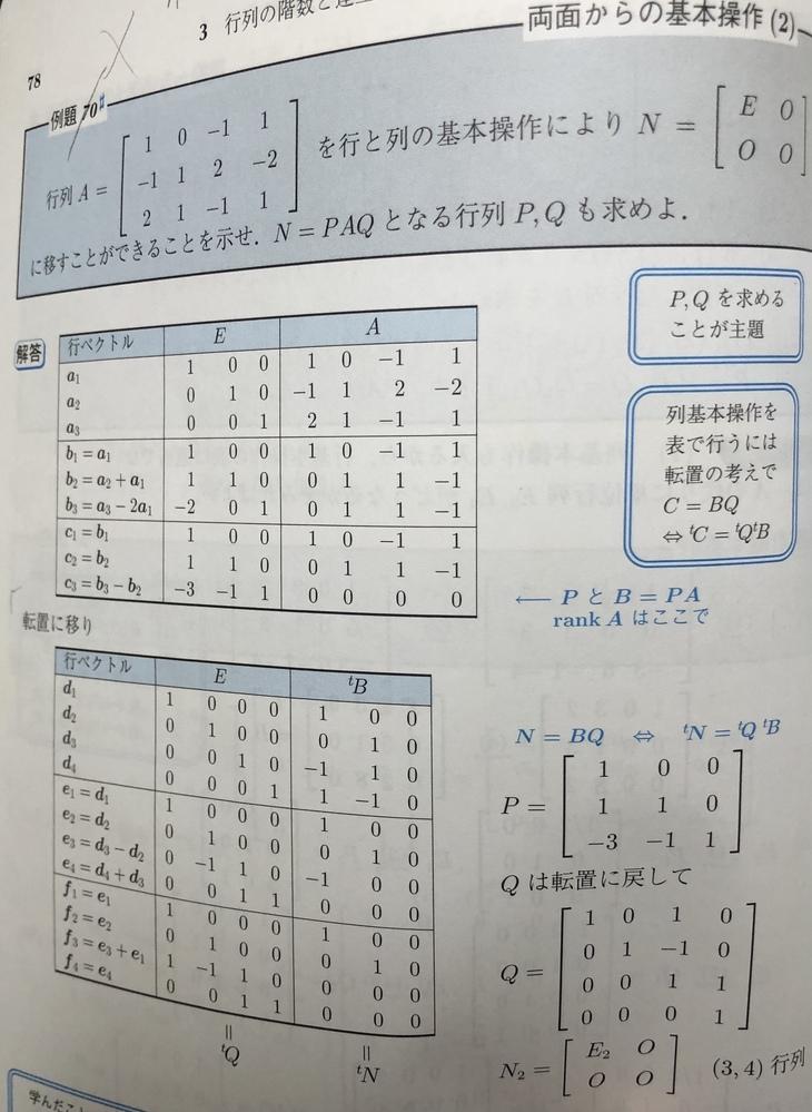 すみません。線形代数の問題で全くわからない解法をしている問題があったので質問させて頂きます。下の画像をご覧ください。 何故、このような解き方をしているのですか?(単位行列と基本変形したり)。教え...