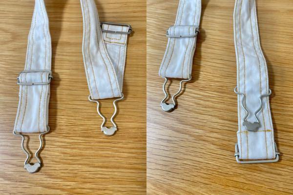 洗濯すると、サロペットの肩紐部分の金具が変なことになってしまいました... 左右あるうちの右側です。動画サイトを調べたりしても上手くできません。左側のようにしたいのに、助けてください。