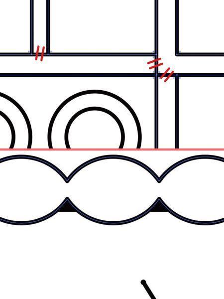 Illustratorについて質問です。 1.画像上。赤斜線の部分を削除して繋げるにはどうしたら良いでしょうか。パスファインダーを使うと線画全部消えて大きな外枠だけになってしまいます。 2.画...