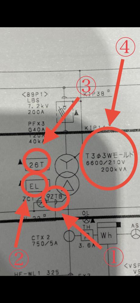 受変電設備の単線結線図についてです。 写真の①〜④が何を意味しているか教えていただけますでしょうか? 変圧器を廃棄物処理する際にお客様より頂いた図面からの内容です。 見積もり作成するために必要な...