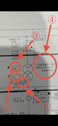 受変電設備の単線結線図についてです。 写真の①〜④が何を意味しているか教えていただけますでしょうか? 変圧器を廃棄物処理する際にお客様より頂いた図面からの内容です。 見積もり作成するために必要な為、早...