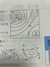 a地点、b地点の風向を教えてください。 風は高気圧から低気圧に向かって吹くので、a地点からPに向かって吹き南東、b地点からPに向かって吹き北西かなと思ったのですが、この考え方は違いますか?