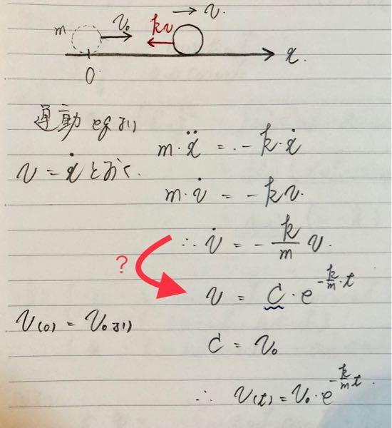 【空気抵抗 運動方程式】 空気抵抗の運動方程式について。 以下の写真のように学んだのですが 矢印で示した部分の式変形がわかりません。 教えてください。