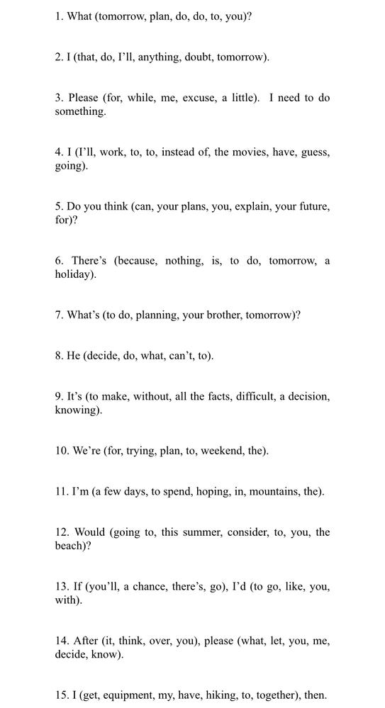 この英文の並び替えわかる方いますか? 息子に答えを忘れて答え合わせができないので分かるかたよろしくお願いいたします。