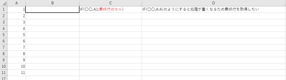 Excelの最終行のセルを取得したい。 詳しくは画像を見ていただきたいのですが、 IF(〇〇,A:A)のA:Aで列全体を検索するのではなく IF(○○,A1:最終行)というように最終行を取得して 検索したいのですが、関数のみで式を成り立つ方法はありますでしょうか。