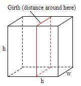 郵便局では、箱の長さと胴回り(周囲の距離)の合計が153インチを超えないものに限り、国内発送を受け付けています。右図のような、寸法がh×h×w、胴回りが2h+2wとなるような正方形の側面を持つ箱...