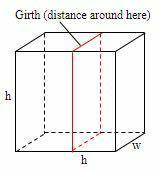 郵便局では、箱の長さと胴回り(周囲の距離)の合計が153インチを超えないものに限り、国内発送を受け付けています。右図のような、寸法がh×h×w、胴回りが2h+2wとなるような正方形の側面を持つ箱があったとします。( a)と(b)の部分を完成させなさい。 a. この箱の体積が最も大きくなる寸法は何ですか? b. 体積をhの関数としてグラフにして、(a)の答えと比べてみてください。 a,bの...