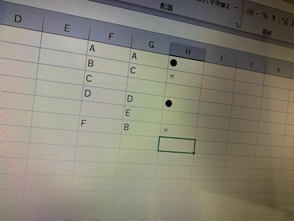 Excel関数について(if?) 写真のように、 ・同じ値が入ってる時は●、そうでない時は ✕ ・どちらかが空白の場合は●も ✕ も表示させない(空白) という条件で関数式を組みたいです どのような式になりますでしょうか