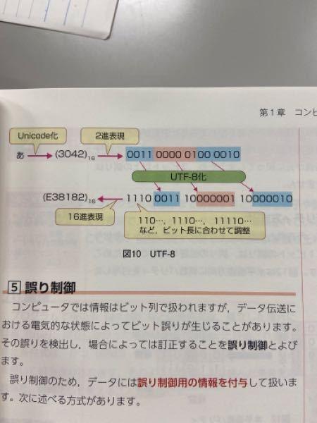 応用情報の教科書なんですが、2進数表現した後にUTF-8化する時にどう調整してあの数字が出てくるのかを教えてほしいです。 もう1つできたら聞きたいのですが、あ をunicode化あとの数値を出す...