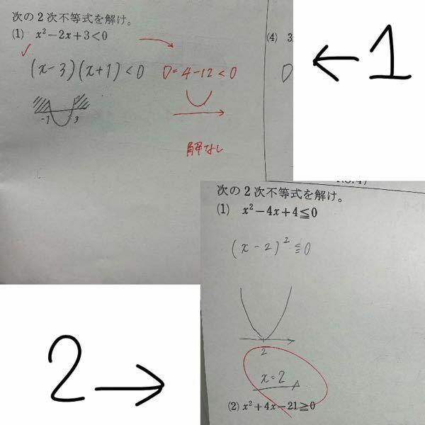 なぜ同じ2次不等式を解けという問題なのに1枚目では判別式を使い2枚目では使わないのでしょうか?問題を見ただけでどちらを使えば良いのかが分かりません。