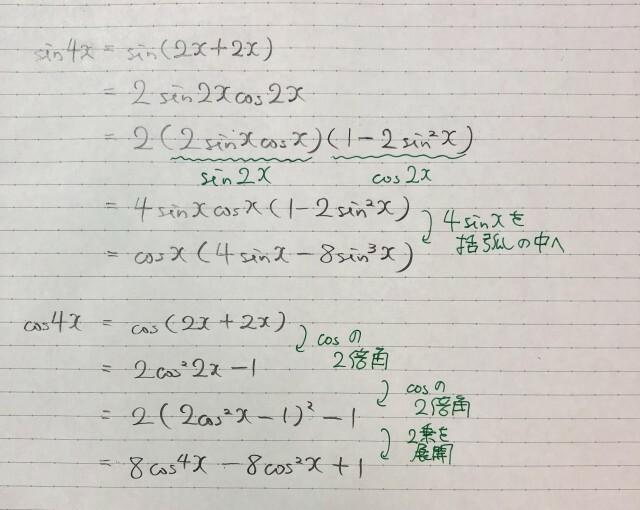 どうしたらcosの4倍角の1行目から2行目になるのかわからないです。教えてください