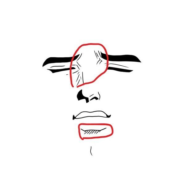 アニメの顔コラを作っているものの目元、 鼻やしわなどの凹凸の部位の処理が全く思いつきません(よく使われている阿部高和の顔でいうとこの辺) どうやって作ってますか? ソフトはgimpです