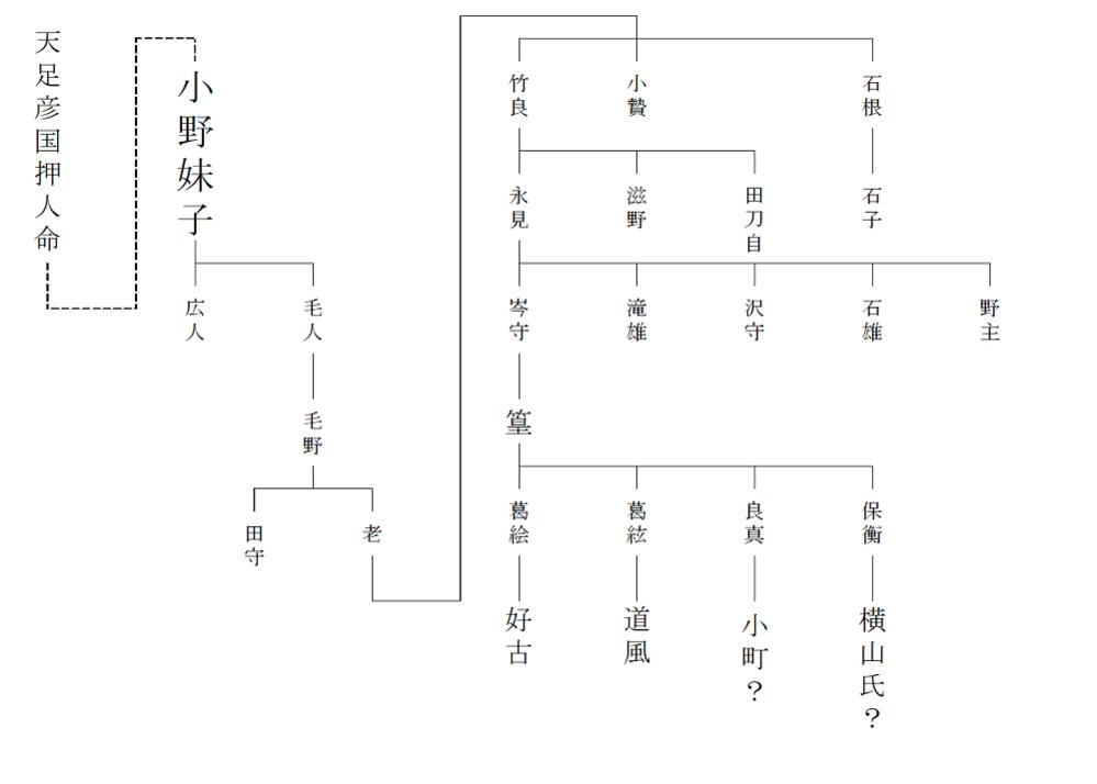 教えて下さい( ; ; ) この図で見ると小野妹子の7代目が小野小町という事で合ってますか?